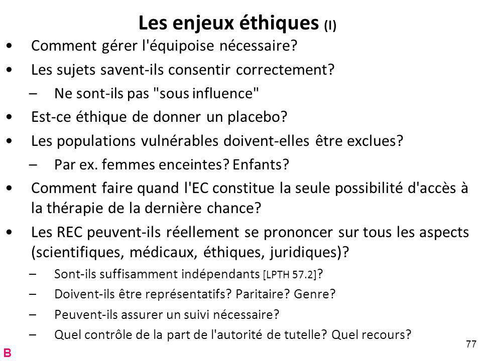 Les enjeux éthiques (I)