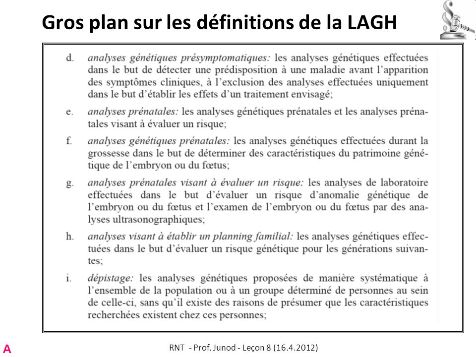 Gros plan sur les définitions de la LAGH