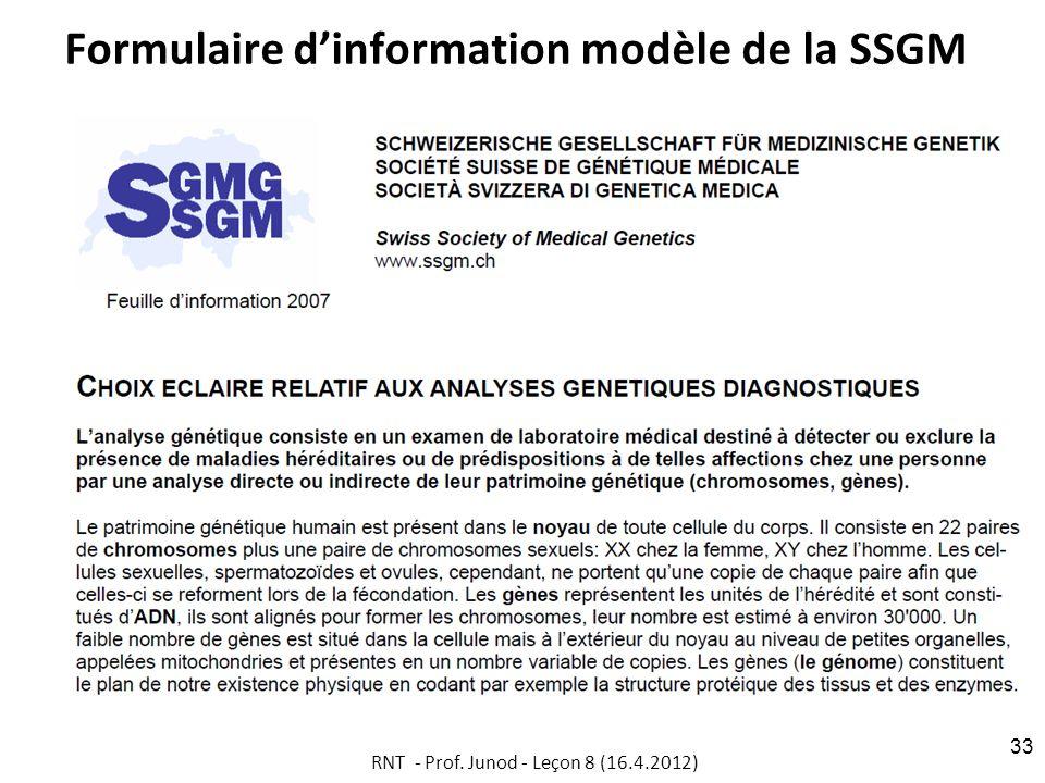 Formulaire d'information modèle de la SSGM