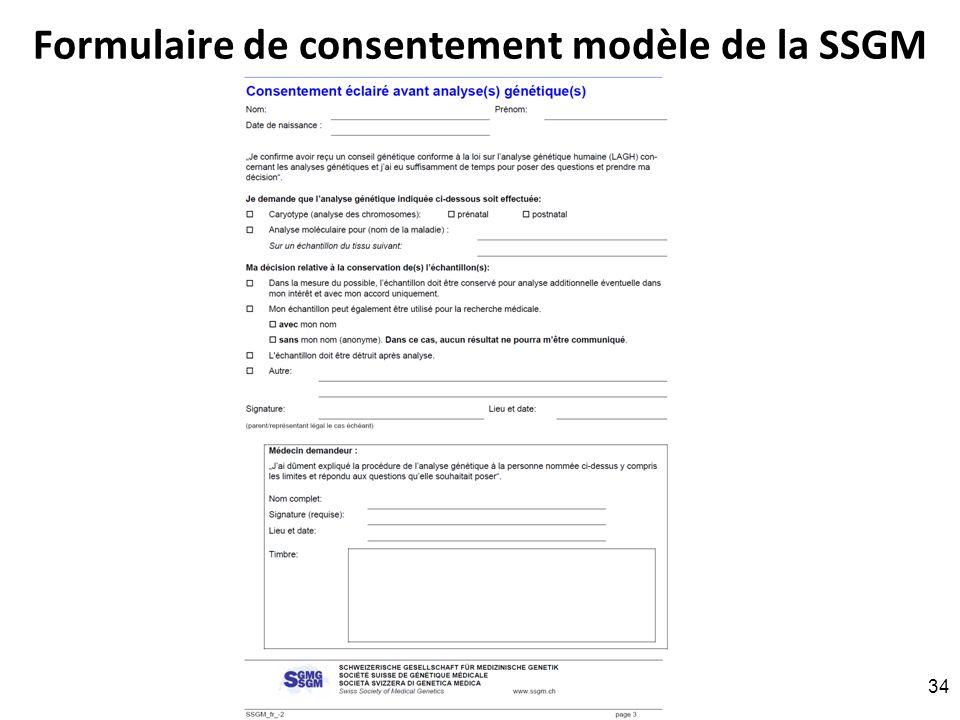Formulaire de consentement modèle de la SSGM