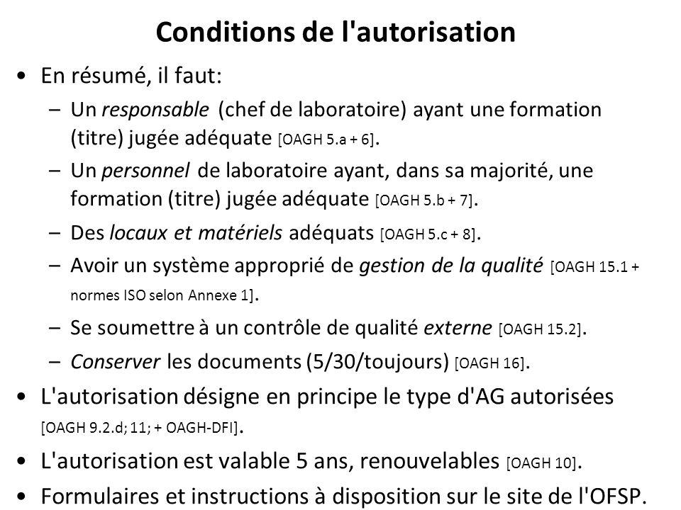 Conditions de l autorisation