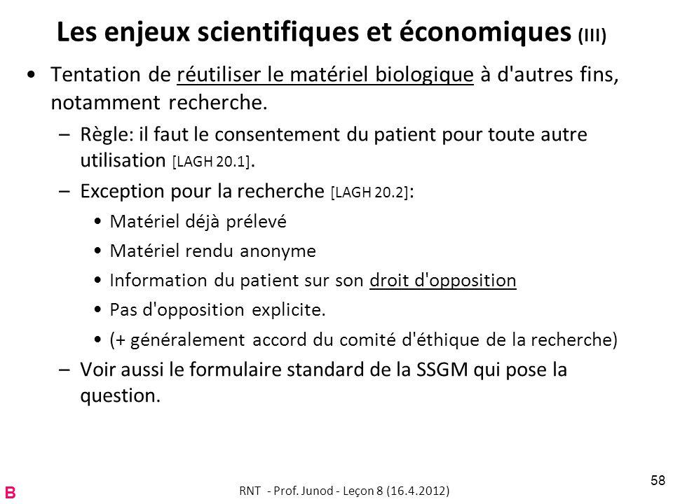 Les enjeux scientifiques et économiques (III)