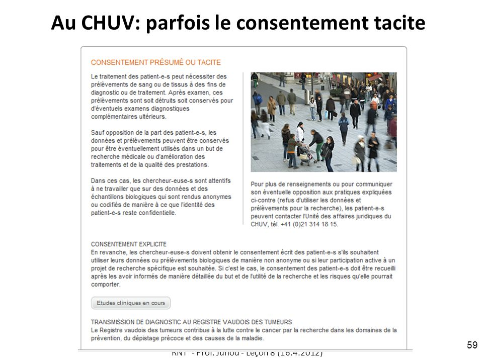 Au CHUV: parfois le consentement tacite