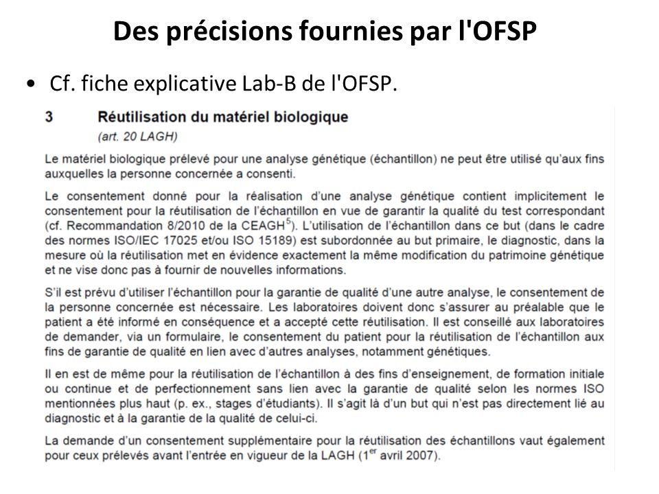 Des précisions fournies par l OFSP