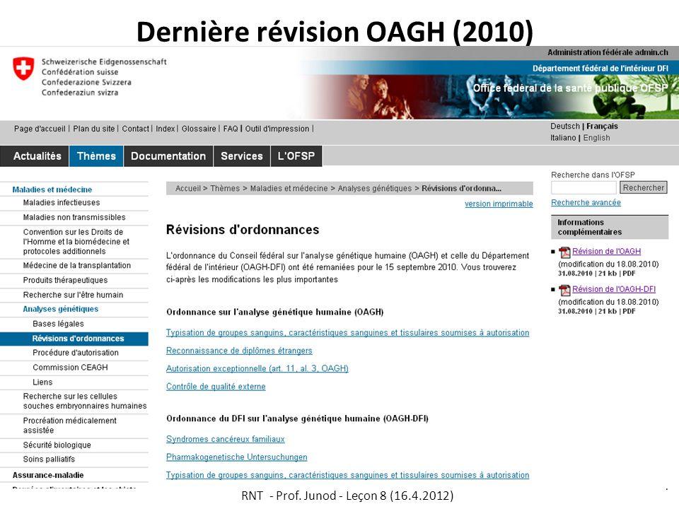 Dernière révision OAGH (2010)