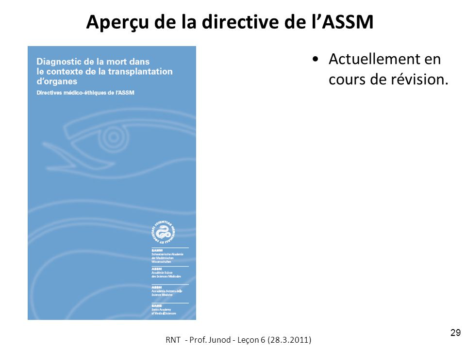 Aperçu de la directive de l'ASSM
