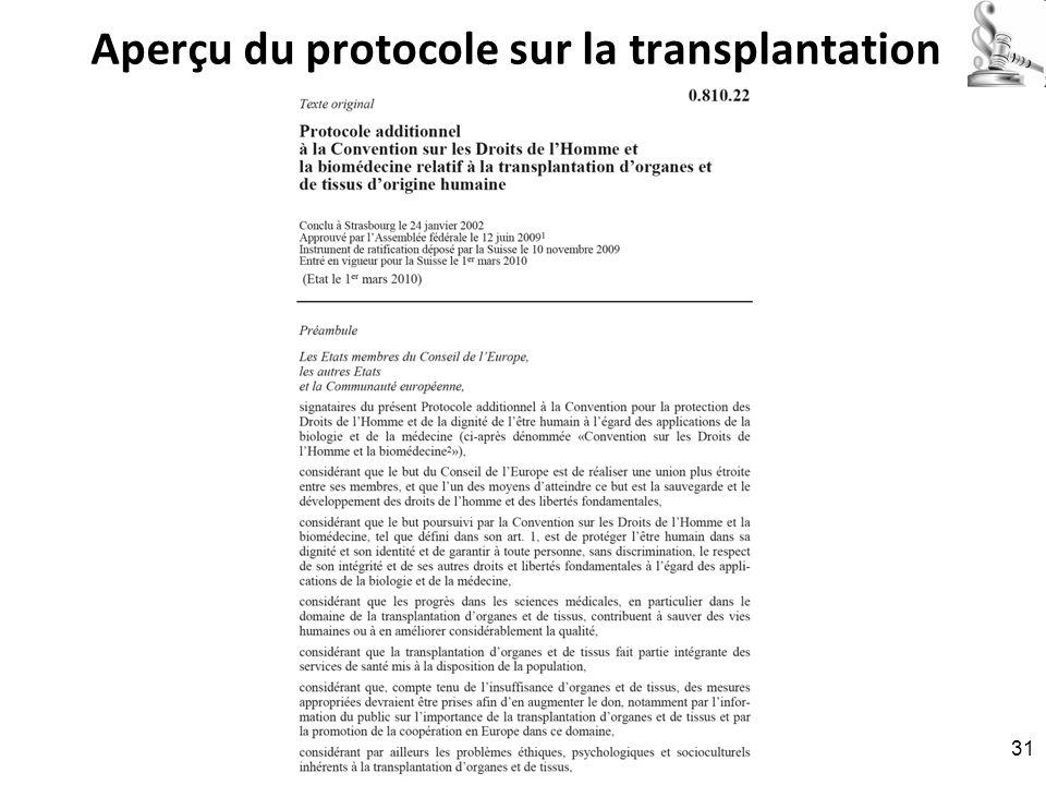 Aperçu du protocole sur la transplantation