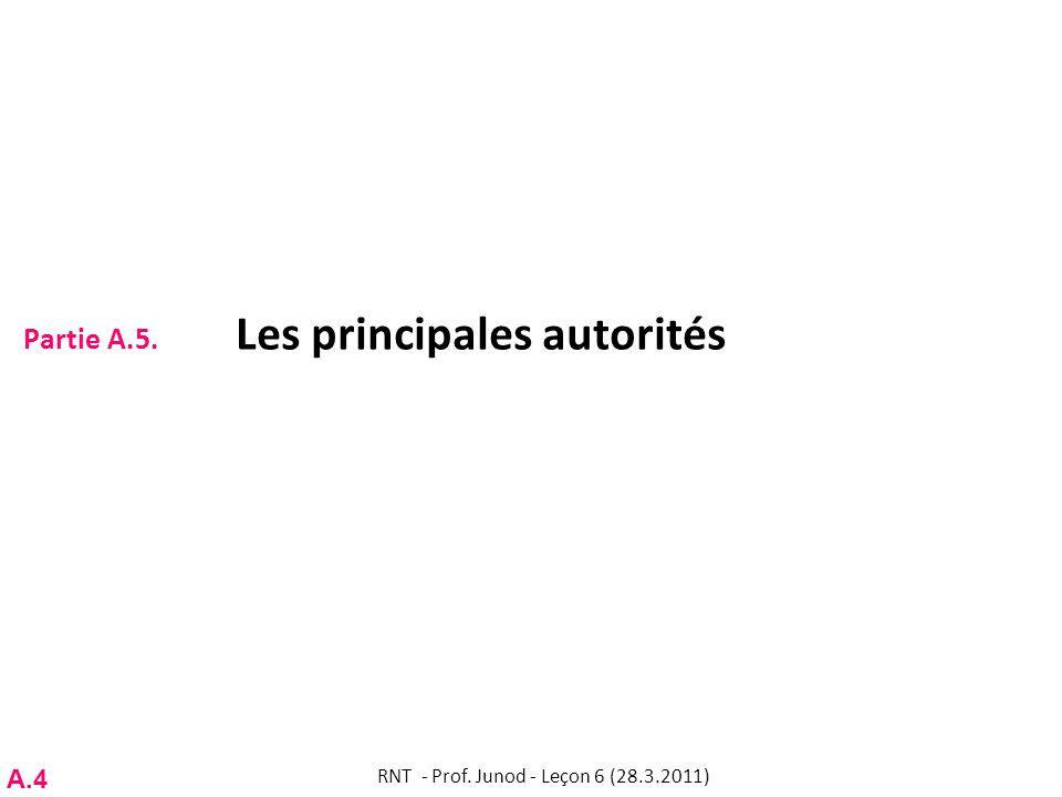 Partie A.5. Les principales autorités