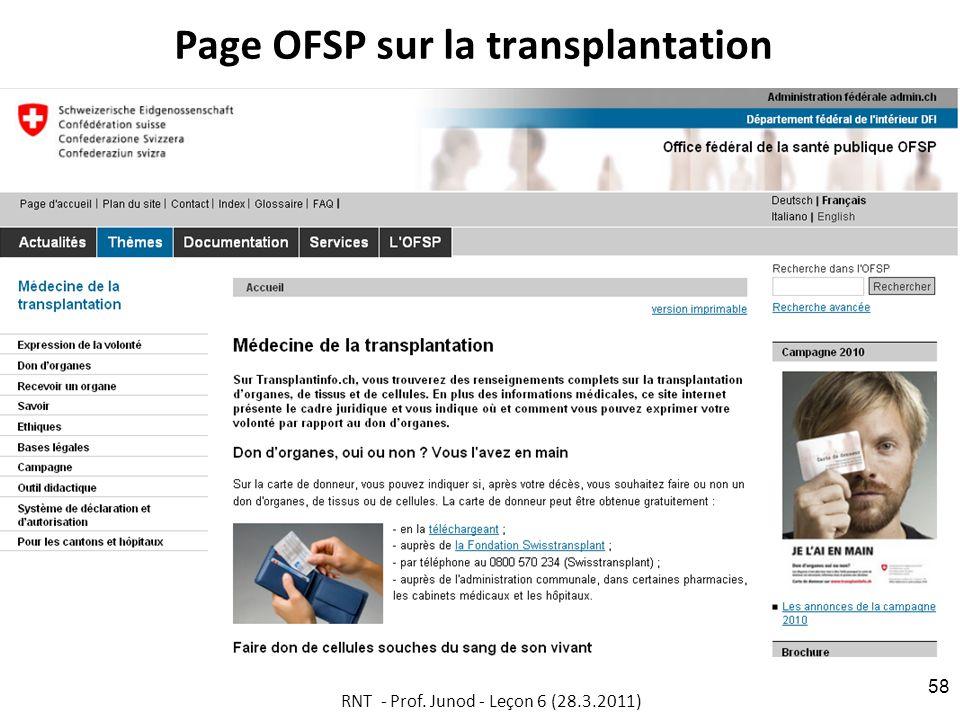 Page OFSP sur la transplantation