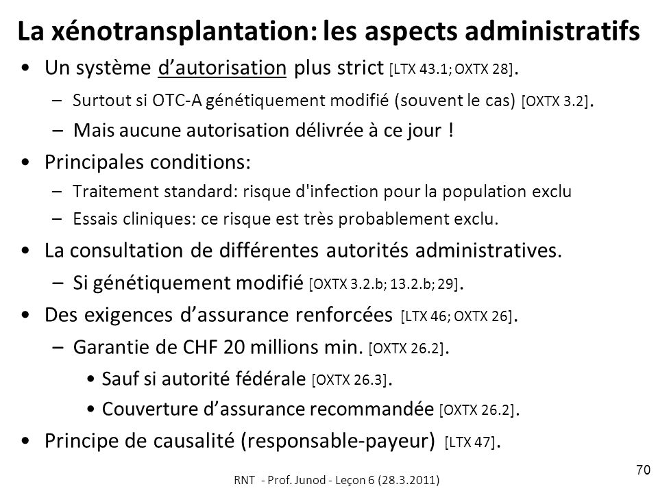 La xénotransplantation: les aspects administratifs