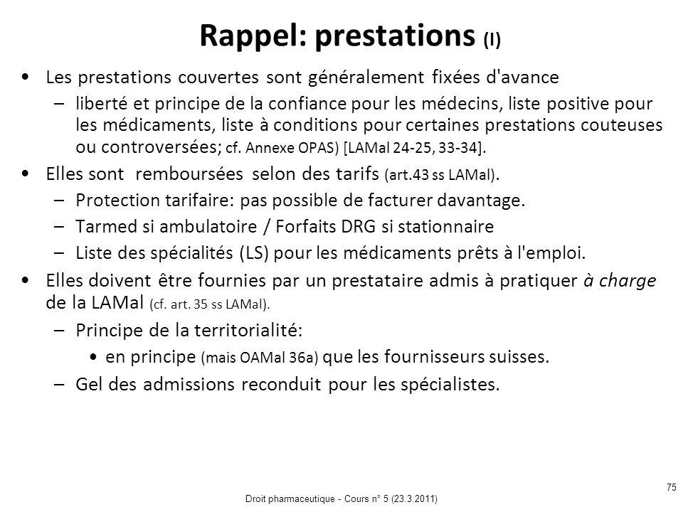 Rappel: prestations (I)