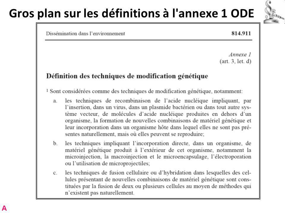 Gros plan sur les définitions à l annexe 1 ODE