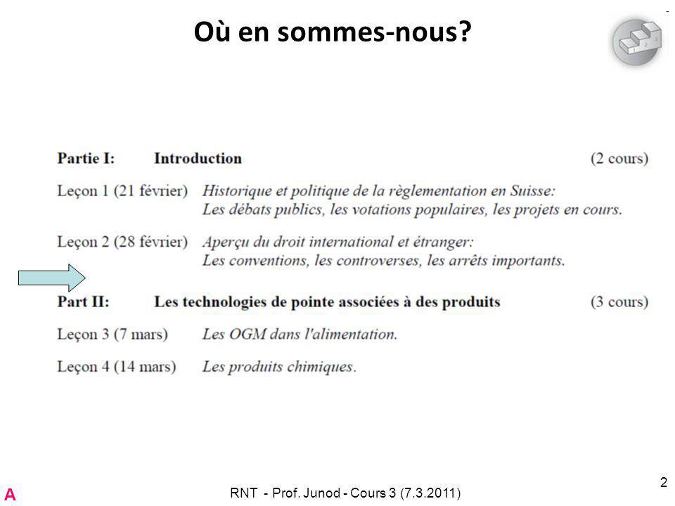RNT - Prof. Junod - Cours 3 (7.3.2011)