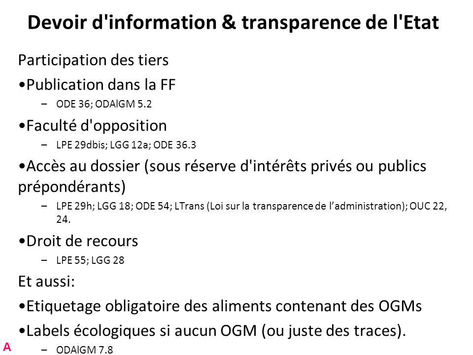 Devoir d information & transparence de l Etat