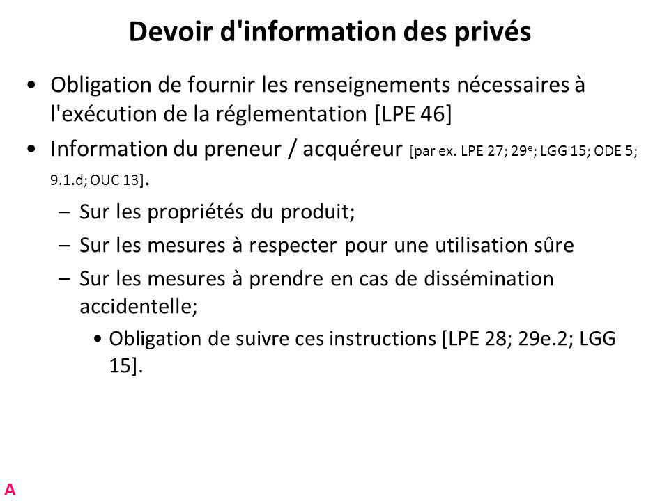 Devoir d information des privés