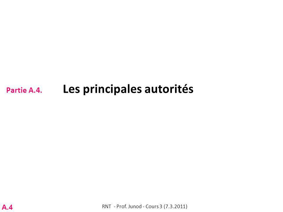 Partie A.4. Les principales autorités