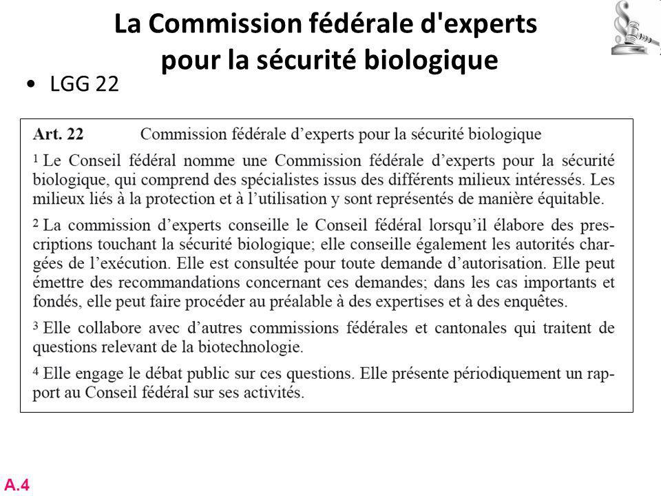 La Commission fédérale d experts pour la sécurité biologique