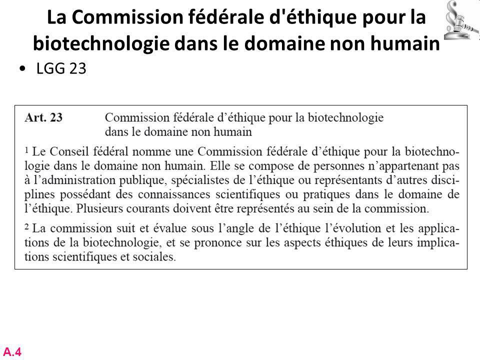 La Commission fédérale d éthique pour la biotechnologie dans le domaine non humain