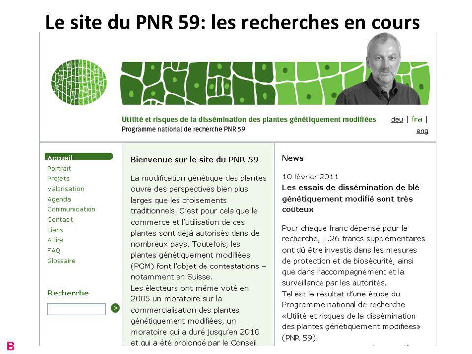 Le site du PNR 59: les recherches en cours