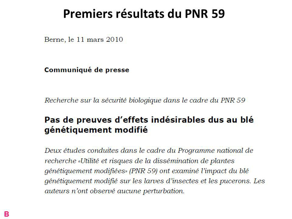 Premiers résultats du PNR 59