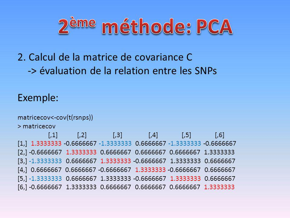 2ème méthode: PCA 2. Calcul de la matrice de covariance C