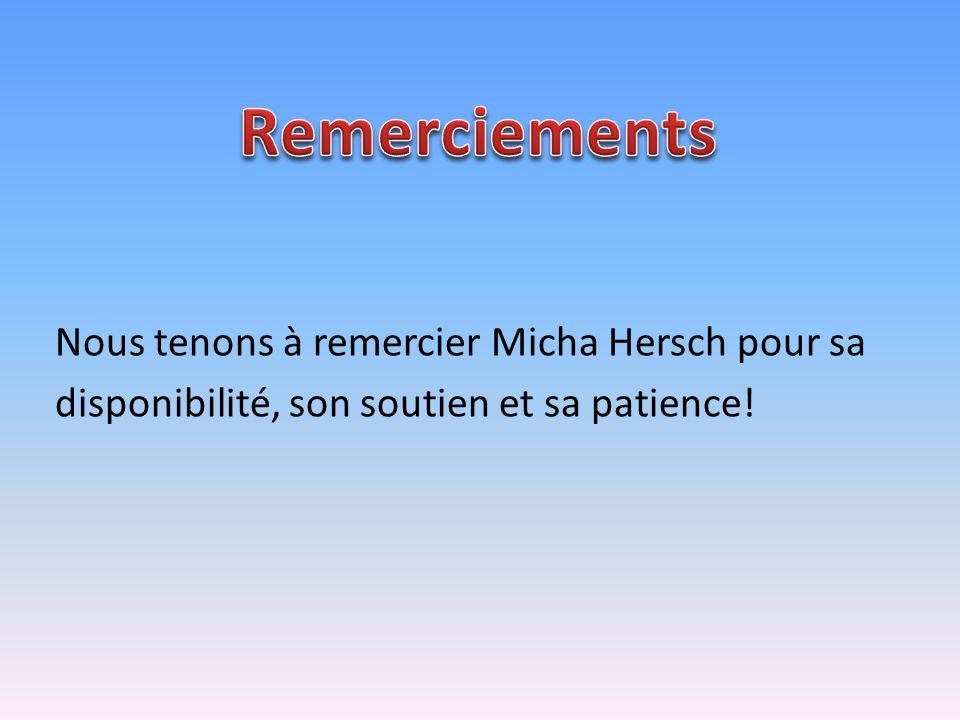 Remerciements Nous tenons à remercier Micha Hersch pour sa disponibilité, son soutien et sa patience.