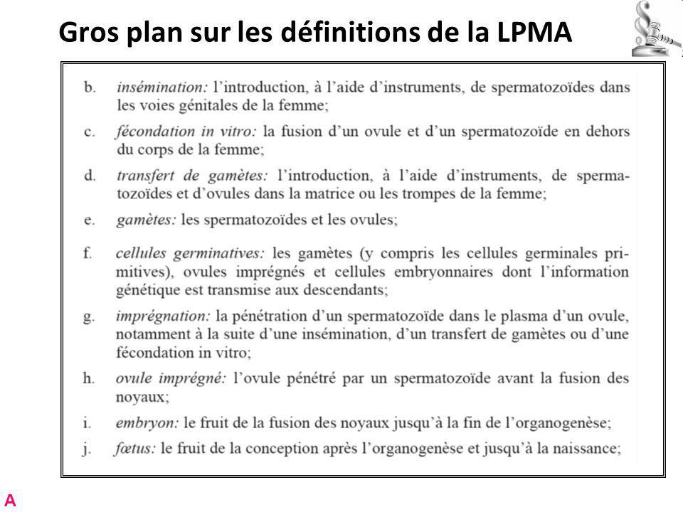 Gros plan sur les définitions de la LPMA