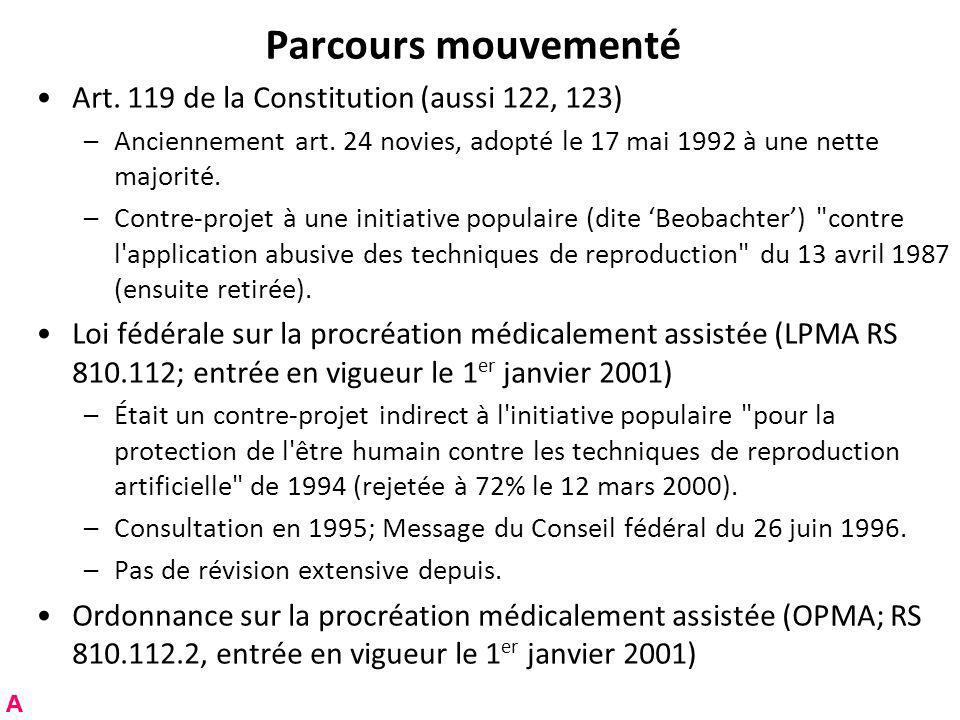 Parcours mouvementé Art. 119 de la Constitution (aussi 122, 123)