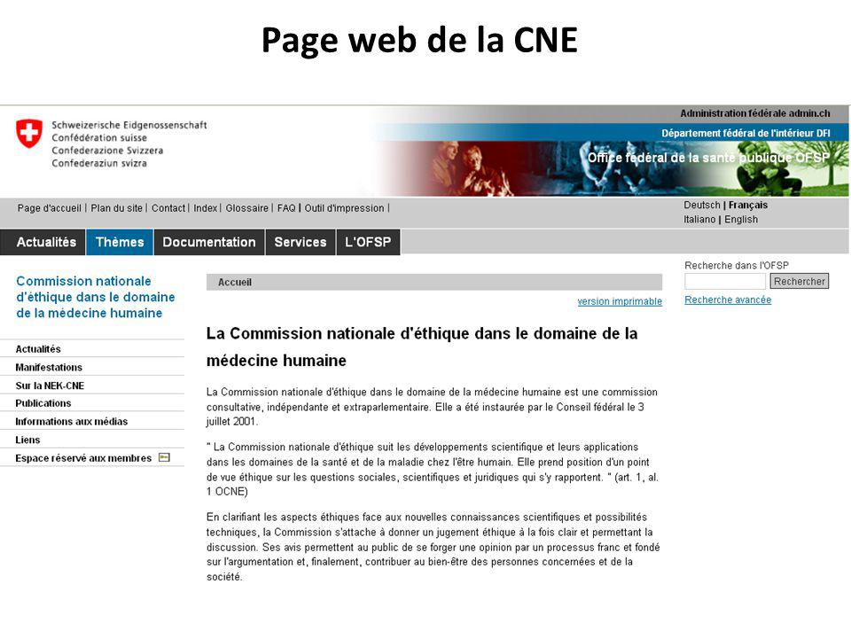Page web de la CNE