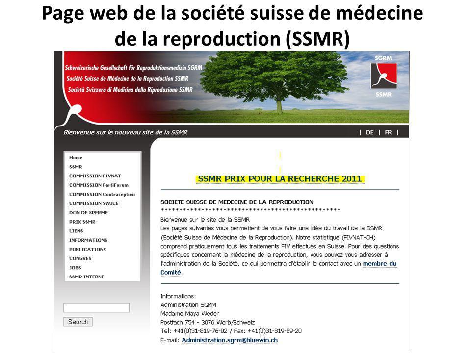 Page web de la société suisse de médecine de la reproduction (SSMR)