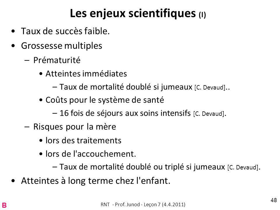 Les enjeux scientifiques (I)