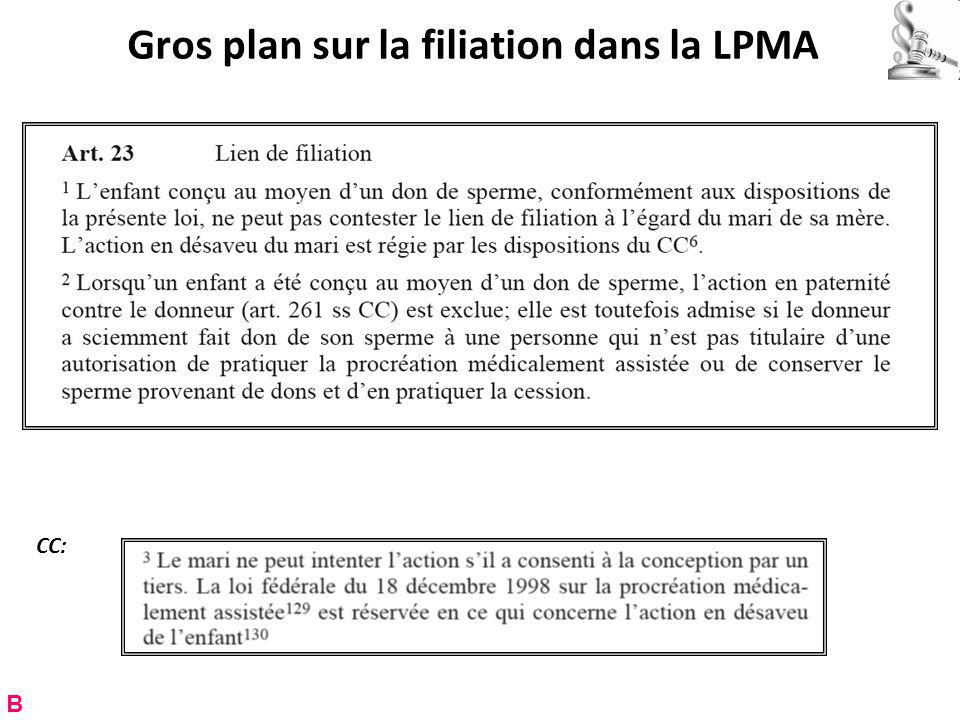 Gros plan sur la filiation dans la LPMA