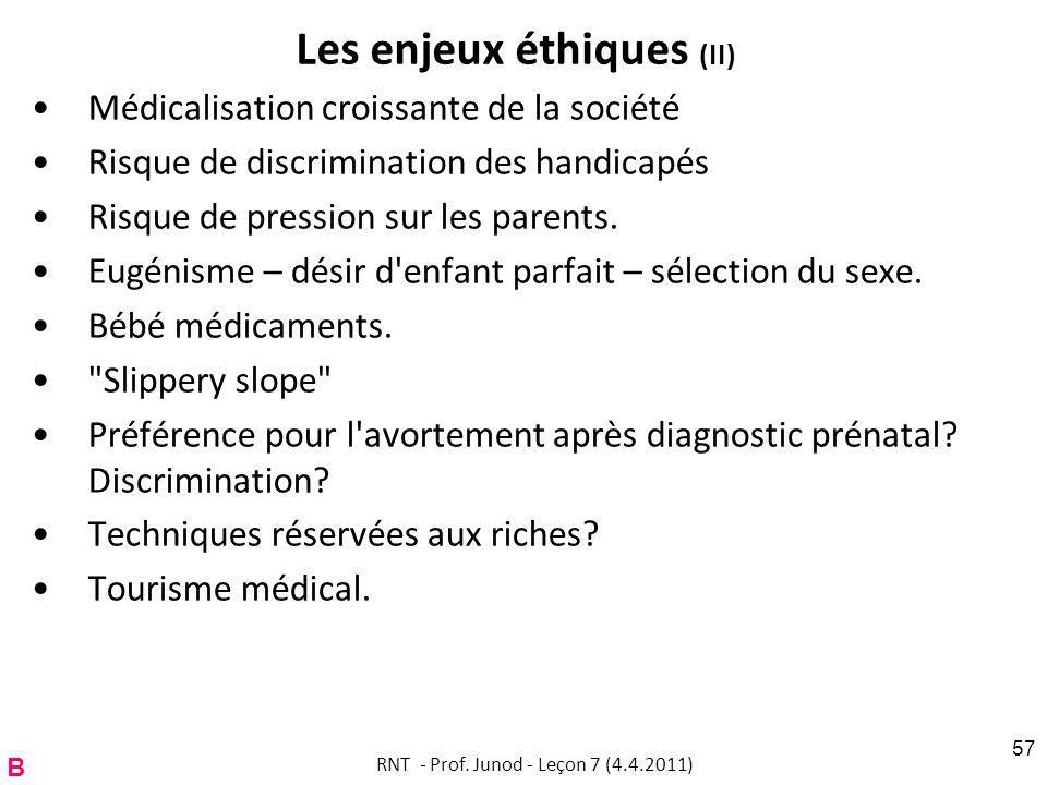 Les enjeux éthiques (II)