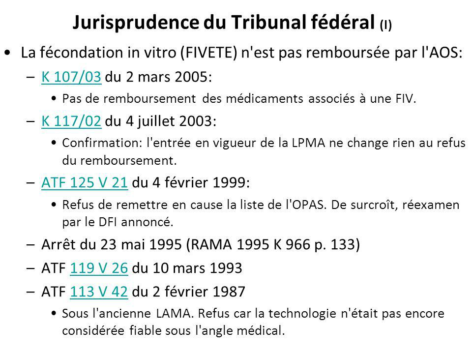 Jurisprudence du Tribunal fédéral (I)