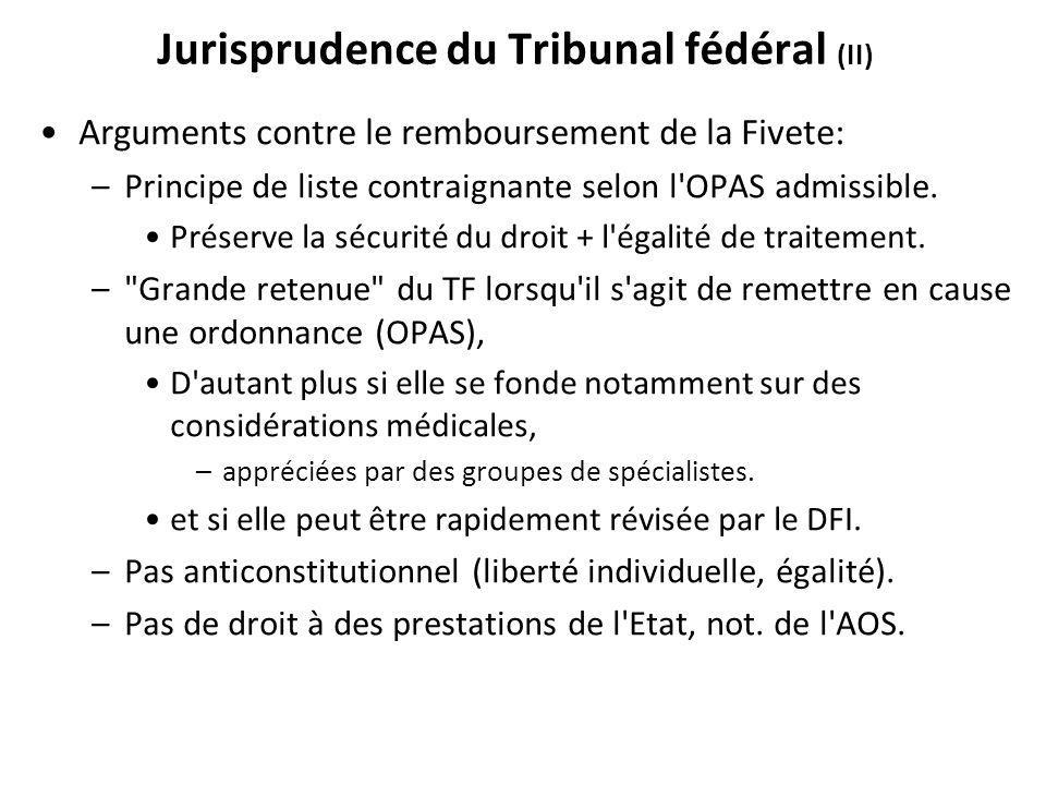 Jurisprudence du Tribunal fédéral (II)