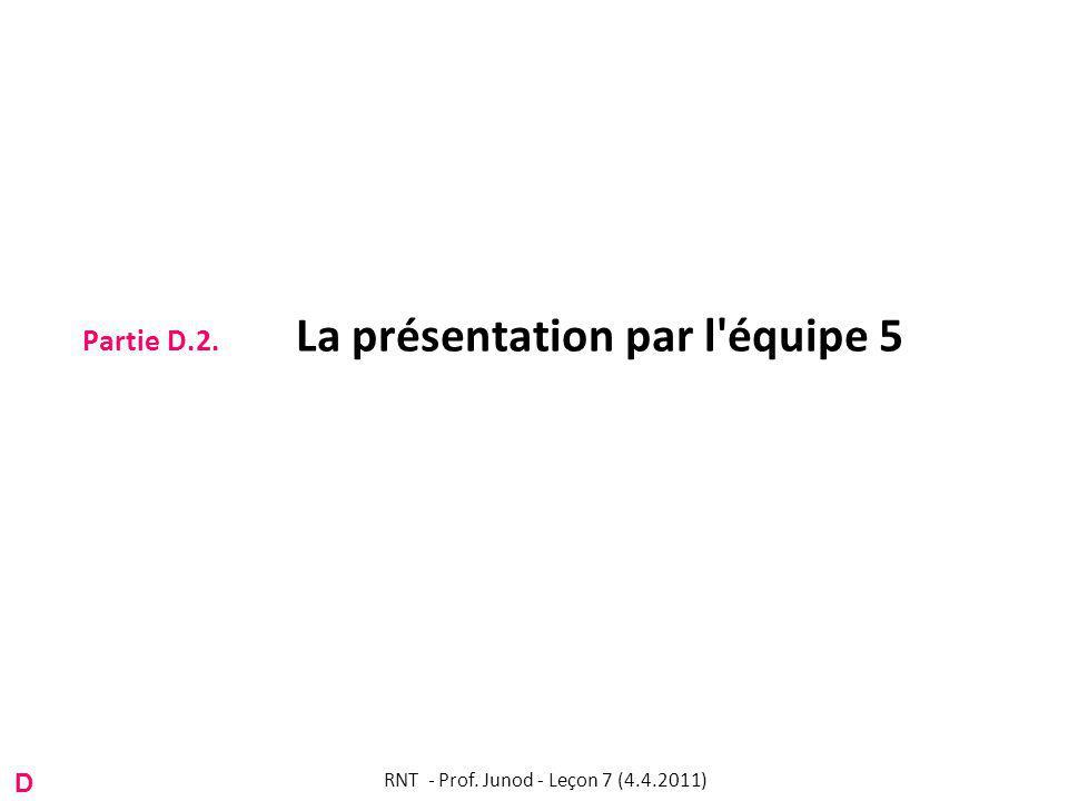 Partie D.2. La présentation par l équipe 5