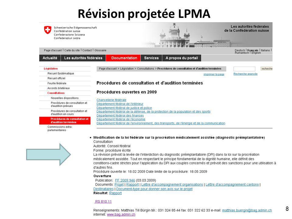 Révision projetée LPMA