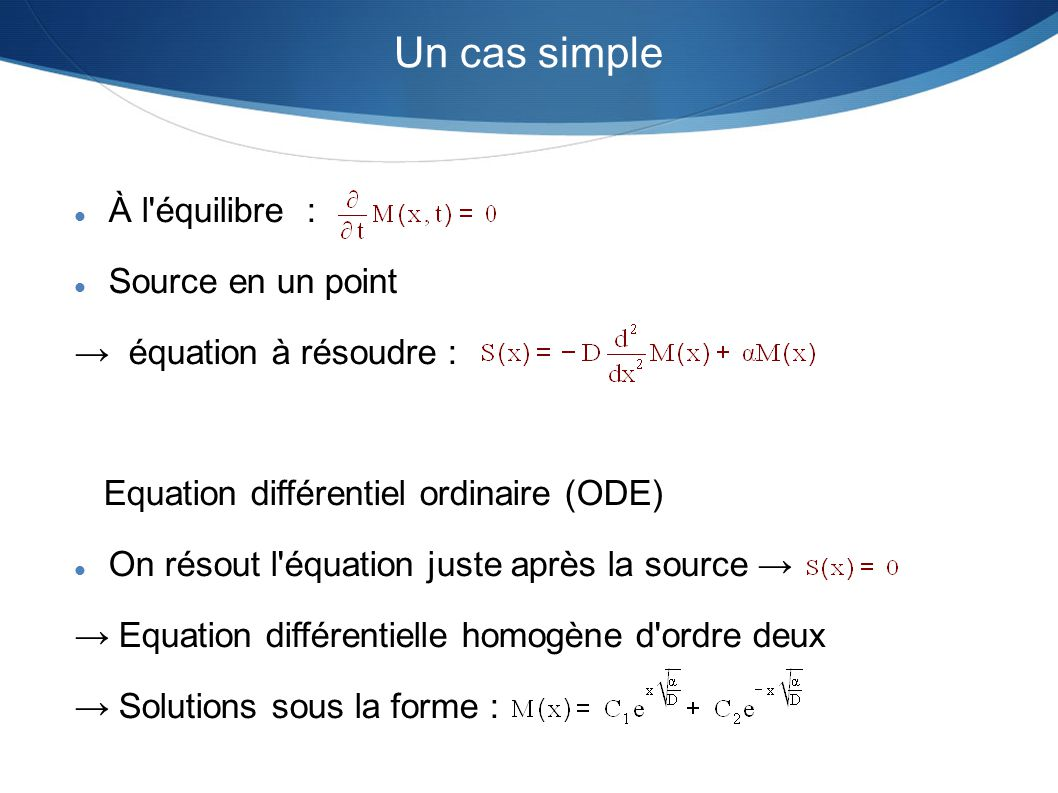 Un cas simple À l équilibre : Source en un point