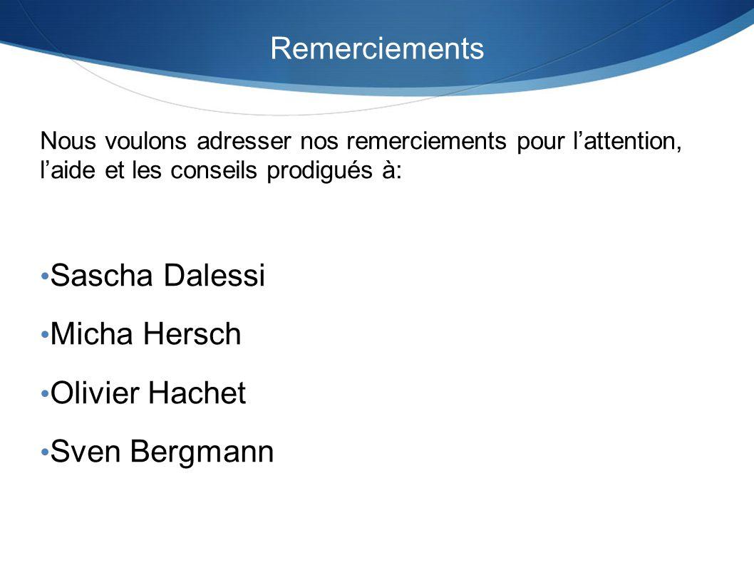 Sascha Dalessi Micha Hersch Olivier Hachet Sven Bergmann Remerciements