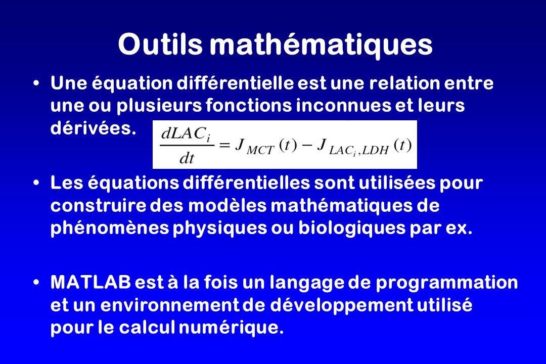 Outils mathématiques Une équation différentielle est une relation entre une ou plusieurs fonctions inconnues et leurs dérivées.