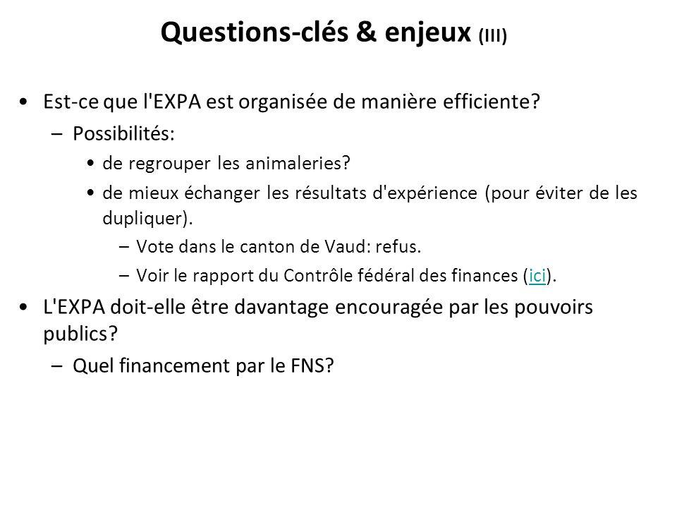 Questions-clés & enjeux (III)