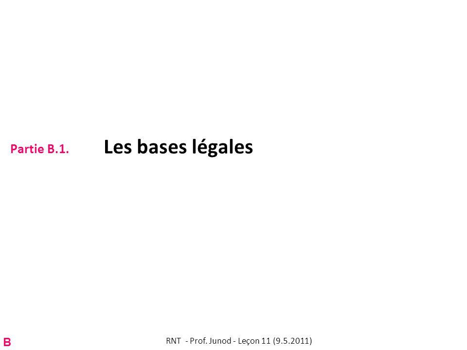 Partie B.1. Les bases légales