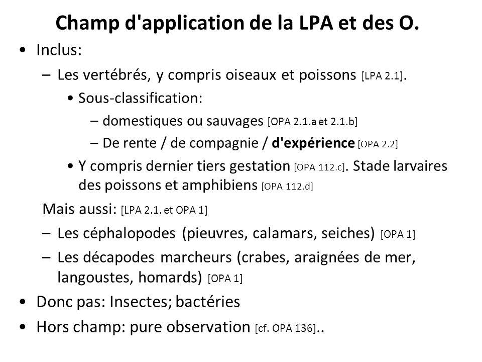 Champ d application de la LPA et des O.