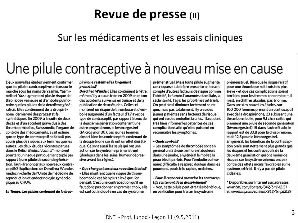 Revue de presse (II) Sur les médicaments et les essais cliniques