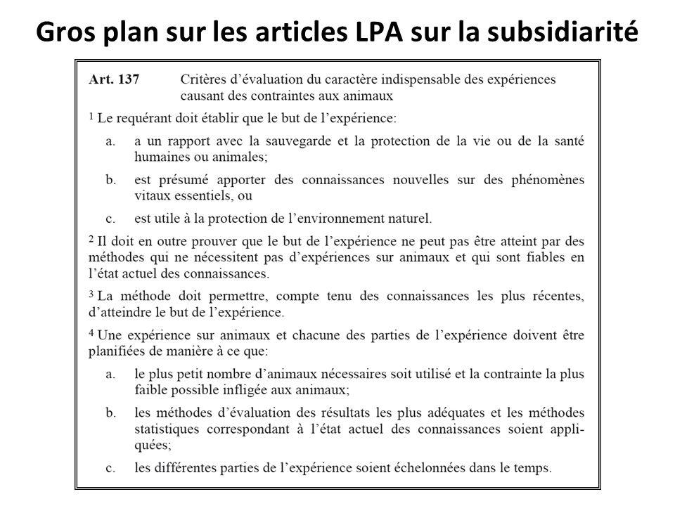Gros plan sur les articles LPA sur la subsidiarité