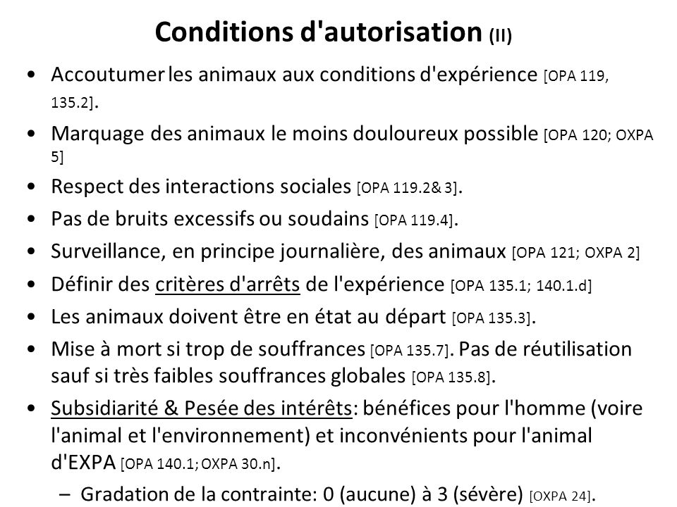 Conditions d autorisation (II)