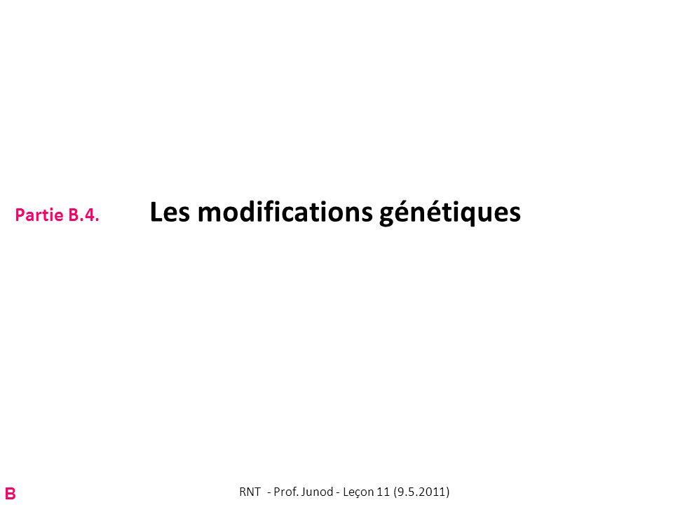 Partie B.4. Les modifications génétiques