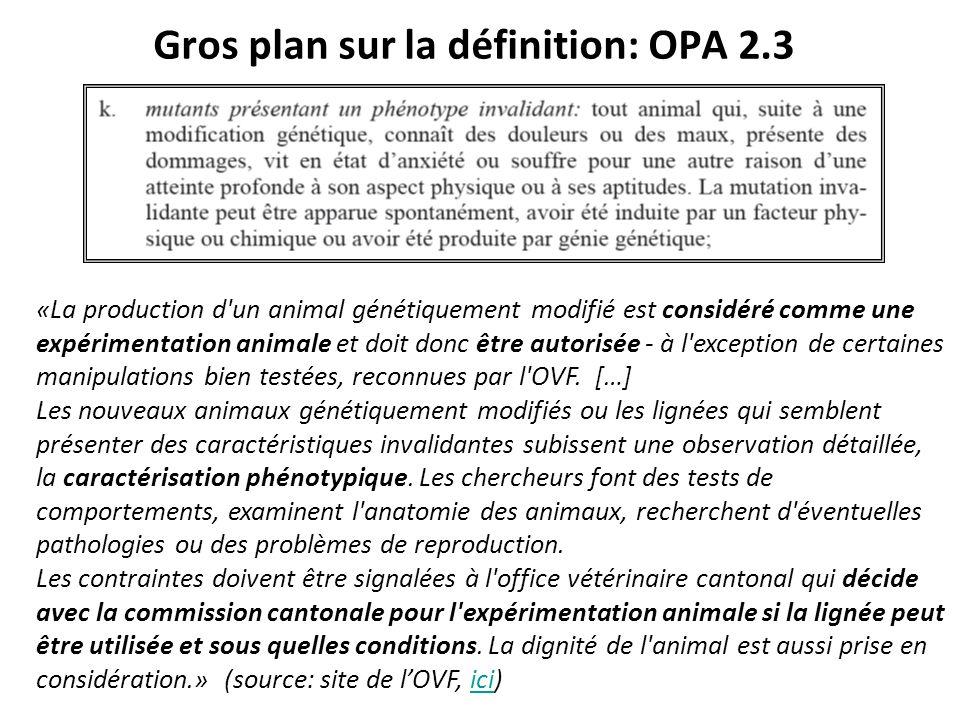 Gros plan sur la définition: OPA 2.3