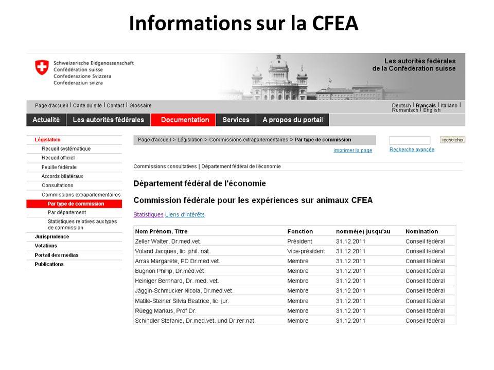 Informations sur la CFEA