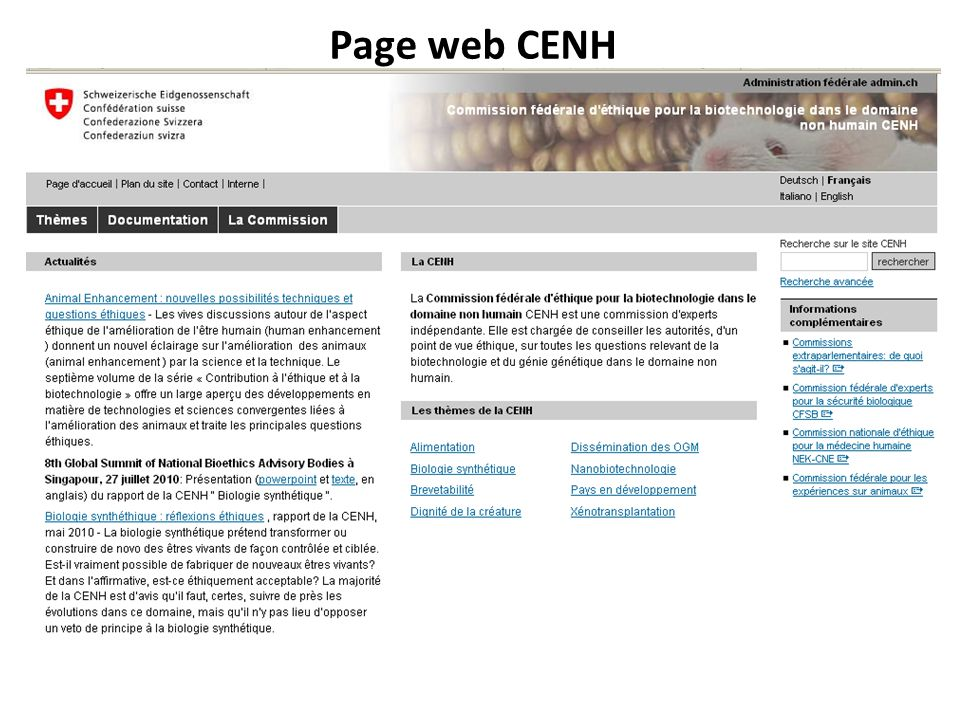 Page web CENH